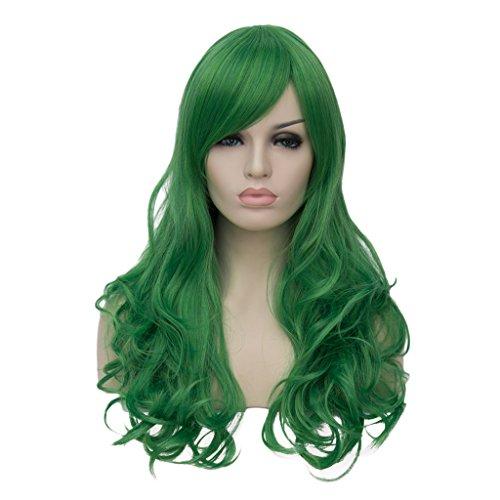 AMYHOME 24'60CM Peluca de cabello largo ondulado para mujer disfraz fiesta cosplay wig peluca halloween larga rizada sinttica peluca fresca de moda(verde)