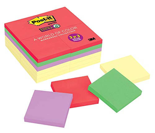 Post-it Super Sticky Notes, 2x Sticking Power, 3 in x 3 in, Marrakesh Collection & Canary Yellow, 24 Pads/Pack (654-24SSCYN)