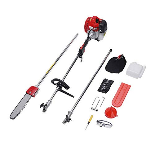 42.7CC 2 Stroke Gas Powered Pole Saw Split Shaft Chainsaw Pruner Trimmer 12'' with extension pole Toolkit And set accessories for Hedge Trimmer, Branch Cutter usa stock