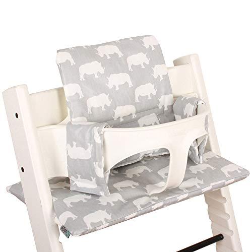 Ukje - Coussin pour chaise haute Stokke Tripp Trapp - Ajustement Parfait - Revêtement Plastifié- Nettoyage Facile - 2 Coussins tripp trapp (vieux et nouveau modèle) - Gris Rino