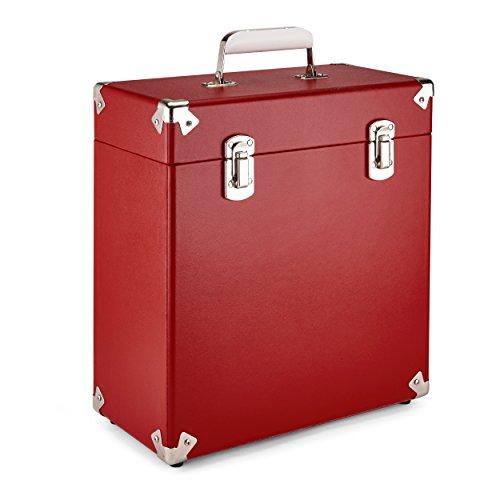 GPO Funda de transporte vintage para LPs y discos de vinilo de 12 pulgadas (alberga 30 álbumes) - Rojo