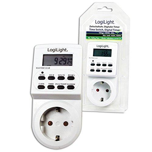 LogiLight ET0003 Digitale Zeitschaltuhr, 3500 W, weiß