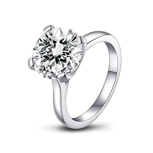 AINUOSHI 4Ct Round Cut CZ Simulated Diamond Solitaire Wedding Engagement Rings for Women 925 Sterling Silver Platinum Plated