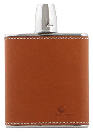 Beier Travel Companion Taschenflasche Flachmann Edelstahl mit Becher und Lederbezug 175 ml