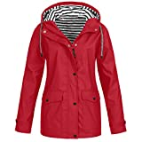 TIMEMEAN Winter Women Autumn Casual Daily Coats Women Solid Rain Jacket Outdoor Plus Waterproof Hooded Raincoat Windproof Red Size 10