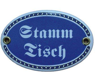Türschild Stamm-Tisch mit Kordelrahmen Emaille Schild 7 x 10,5 cm Email blau (ohne Holzrahmen)