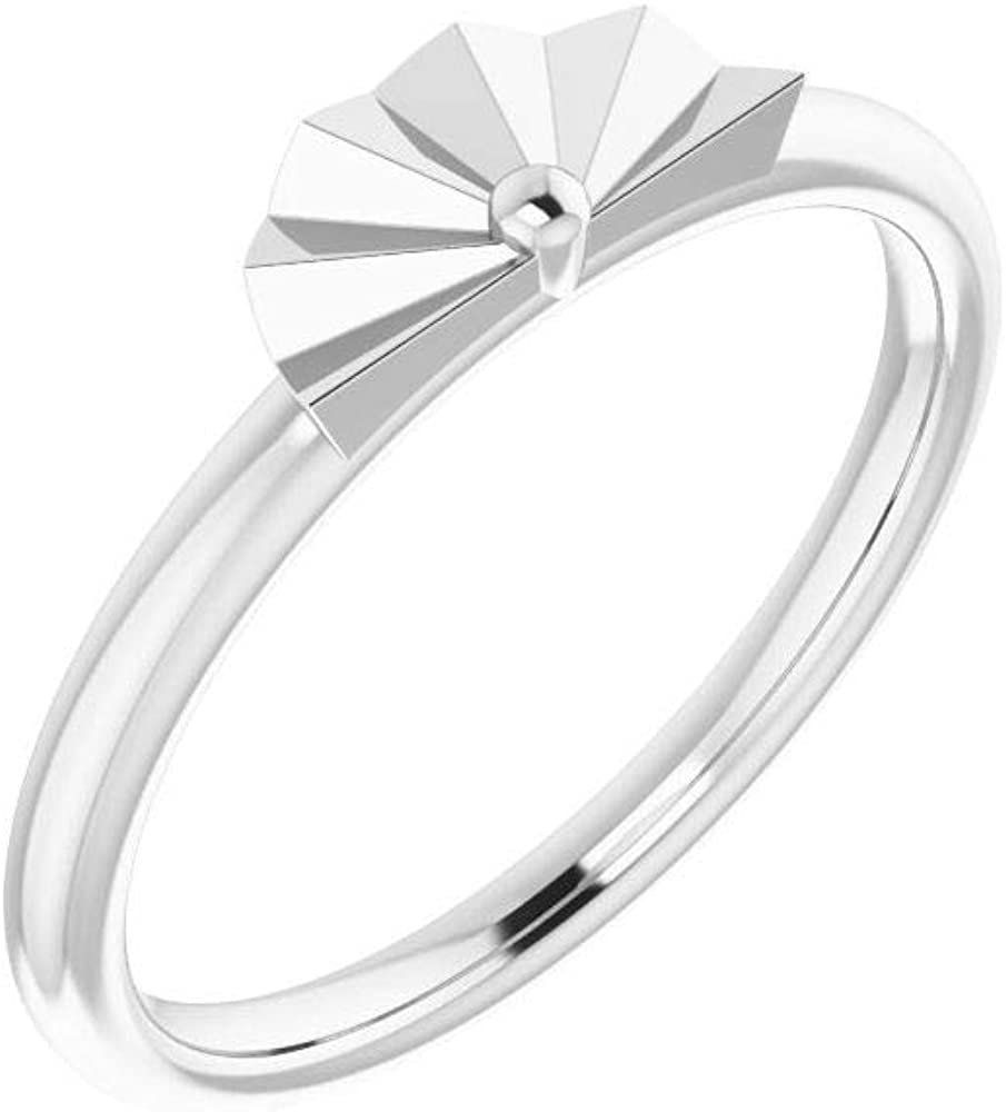 Solid 14k White Gold Starburst Stackable Wedding Anniversary Ring Band (Width = 4.7mm)
