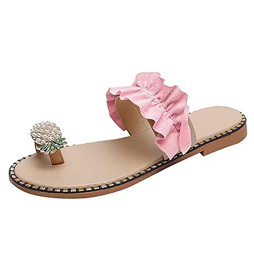 Sandales pour Femmes Été Plage Tongs Tongs Dames Bohème Chaussures Compensées Sandales Scintillant Ananas Perle Plat sans Lacet Pantoufles pour Vacances Décontractées Chaussure De Marche