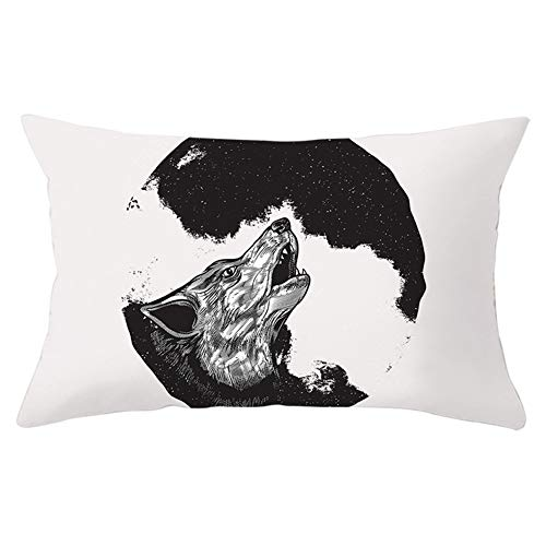 Fundas de Cojines Throw Pillow Case Lobo blanco y negro Cojines Decoracion Terciopelo Suave Fundas de Almohada Rectángulo para Sofá Cama Sillas Coche Dormitorio Decor Hogar Y5997 Pillowcase,50x70cm