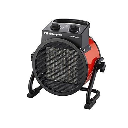 Orbegozo FHR 3050 Calefactor Cerámico Profesional con 2 Potencias de Calor, 3000 W, Metal, Negro/Rojo