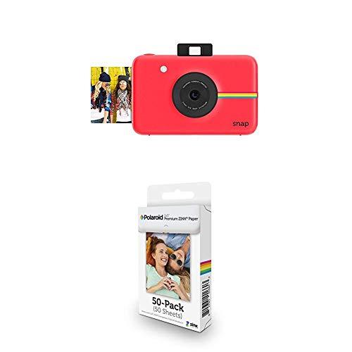 Polaroid Snap - Cámara Digital instantánea, Rojo + Paquete de 50 Hojas