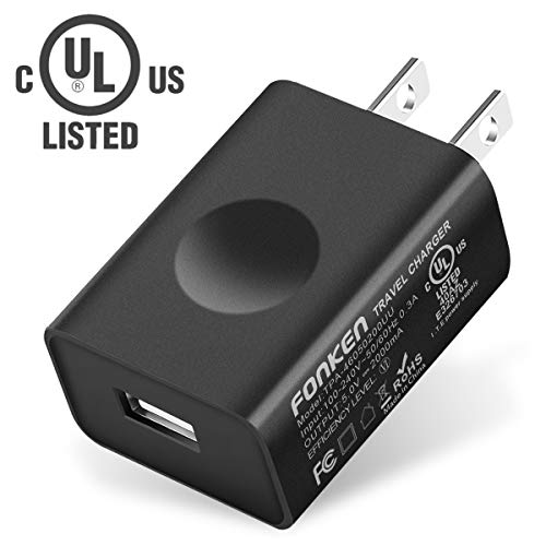 UL Certified USB Wall Charger, FONKEN 5V 2A Power Adapter Universal Travel Charger USB Plug Cell Phone Charger for Compatible with iPhone, iPad, Google Nexus, Samsung, LG, HTC, Moto, Kindle and More