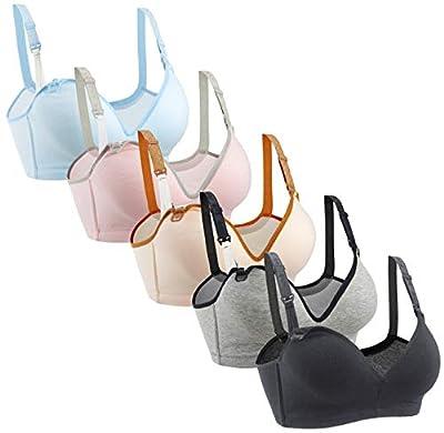 5Pack Nursing Bra,Womens Maternity Breastfeeding Bra Wireless Sleeping Bralette with Extenders