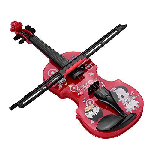 KTOO Kinder kleine Geige mit Geigenbogen Spaß pädagogische Musikinstrumente Elektronisches Geigenspielzeug für Kleinkinder Kinder Jungen und Mädchen Rot