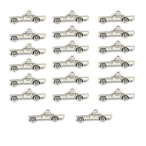 Bonarty 20x Antik Silber Zink Legierung Kleinwagen Anhänger Perlen Charms Schmucksachen