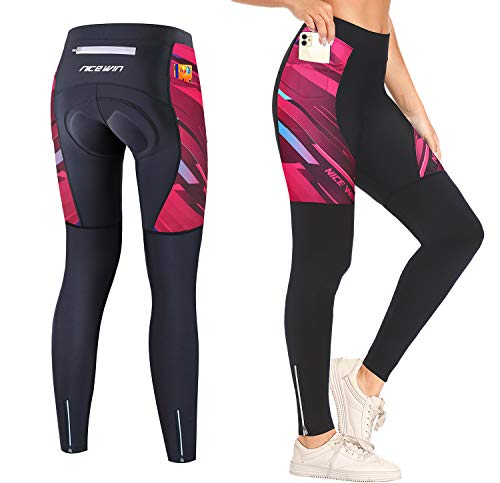Women Padded Cycling Tights with Pockets Long Legging Breathable Trousers Ankle Zipper MTB Compression Pants Red M