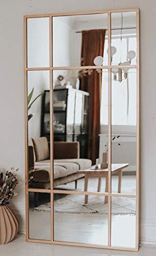 Direkte Import Standspiegel Ganzkörperspiegel, Gold, aus Metall – Rechteckiger Ankleidespiegel | [H 180* B 90* T 3cm] |Designed in Dänemark | Garderobenspiegel groß, lang, stehend | Hoch und Quer