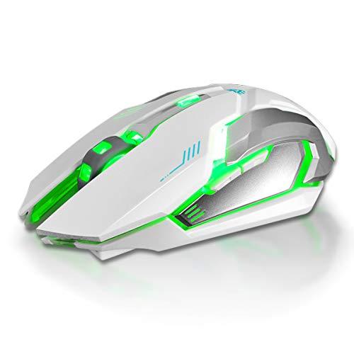 Ponacat Draadloze Gaming Muis, 1600DPI Optische Sensor 6 Knopen Pro USB Computer Muizen Compatibel met Laptop PC Notebook, Kleur: wit
