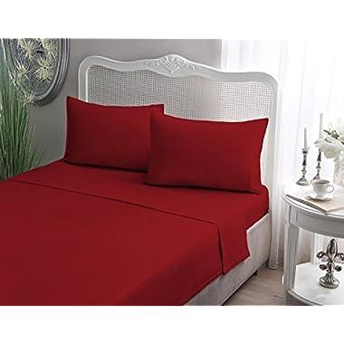 Brielle Cotton Jersey Knit (T-Shirt) Sheet Set, King, Red