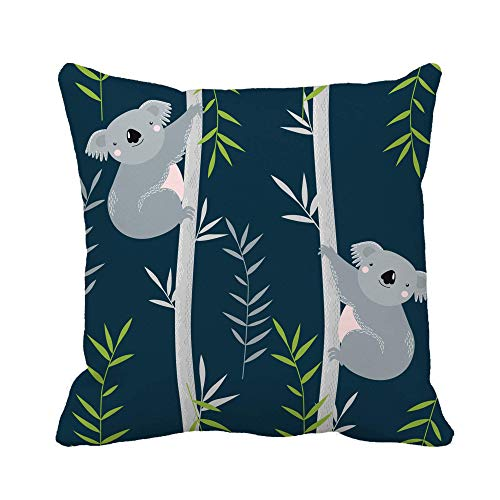 Throw Pillow Cover Animal Koalas on Trees Personaje de Dibujos Animados Australia Baby Bear Funda de Almohada Funda de Almohada Cuadrada Decorativa para el hogar Funda de cojín