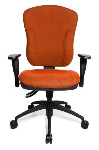 Topstar Wellpoint 30 SY, ergonomischer Bürostuhl, Schreibtischstuhl, Muldensitz, inkl. Armlehnen, Bezug orange