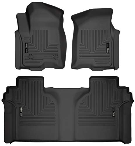 Husky Liners 94021 Black Weatherbeater Front & 2nd Seat Floor Mats Fits 2019 Chevrolet Silverado/GMC Sierra 1500 Crew Cab - with Carpeted Factory Storage Box