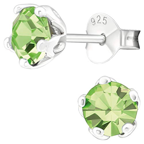 EYS JEWELRY Damen Ohrringe rund 925 Sterling Silber Glitzer-Kristall Peridot-grün 6 mm Ohrstecker Damenohrringe Damenohrstecker