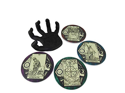 World of Wonders Drink to Good Fortune Decorative Gothic Palm Holder with Tarot Card Drink Coasters (5 Piece Set)   Coffee Table and Witch Decor for Your Home - 5'