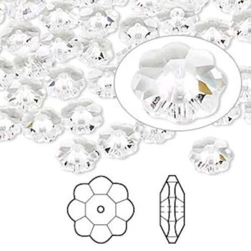 12 Swarovski Marguerite Lochrose Flower Crystal Beads ~ 8x3mm Crystal ~ 3700
