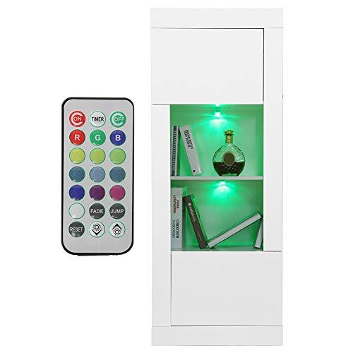 Zerone Aparador de cocina moderno, aparador bajo aparador de MDF + tablero de partículas para salón, moderno, LED, armario de dormitorio, con mando a distancia, 55 x 35 x 140 cm (blanco)