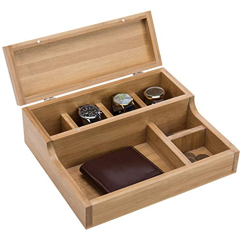 MyGift Tabletop Solid Natural Beige Bamboo Watch Case Organizer & Dresser Valet Display Tray