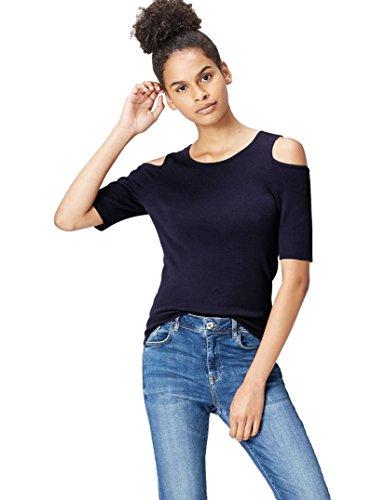 find. T-Shirt Damen gerippt, mit Off-Shoulder-Design, Blau (French Blue), 40 (Herstellergröße: Large)