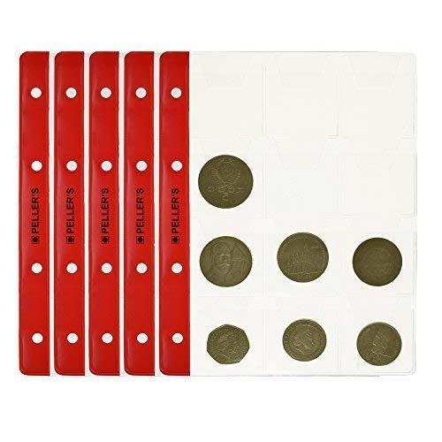 PELLER'S Hojas con 12 compartimentos para monedas: 46mm X 50mm. Para álbum tipo M. Paqute de 10. Para monedas de hasta 40mm de diámetro.
