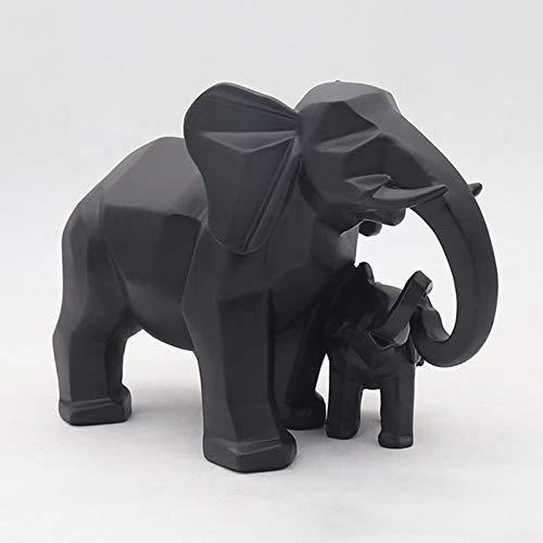 Kaijia Elefante Madre y Niño Escultura Adornos Resina Animal Resina Figura Estatua, regalos para niños y decoración del hogar. Dorado