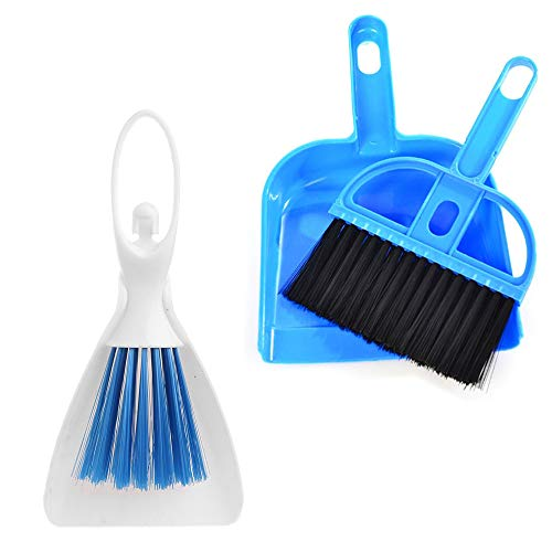 PIVBY Mini Hand Broom and Dustpan Sand Scooper Set Cage Cleaner for Guinea Pigs, Cats, Hedgehogs, Hamsters, Chinchillas, Rabbits, Reptiles, and Other Small Animals (2 Pack,Random Color)