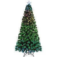 WeRChristmas Árbol de Navidad de Fibra óptica Que Cambia de Color con Controlador, Verde, 5 ft/1.5m