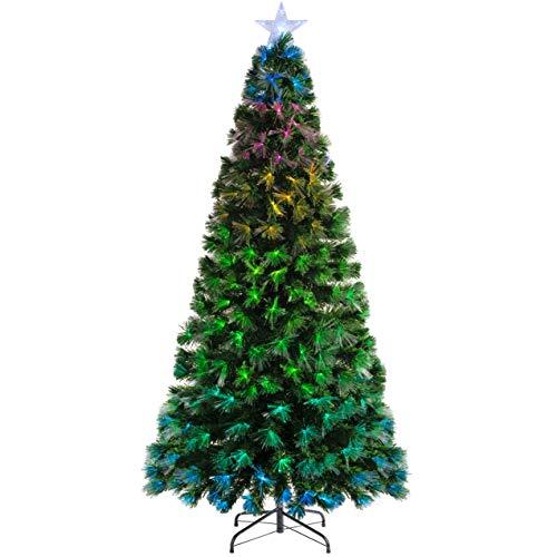 WeRChristmas - Albero di Natale in Fibra Ottica Cambia Colore con regolatore, Verde, 5 ft/1.5m