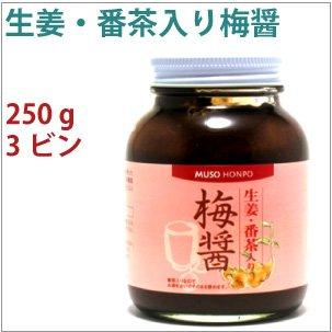 梅干し番茶 生姜・番茶入り梅醤 250g  3瓶