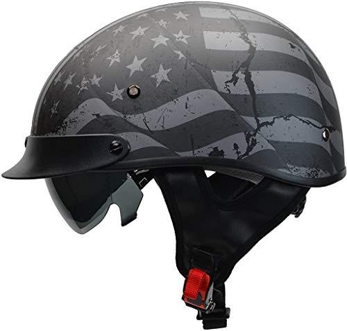 Vega Helmets Warrior Motorcycle Half Helmet with Sunshield for Men & Women,...
