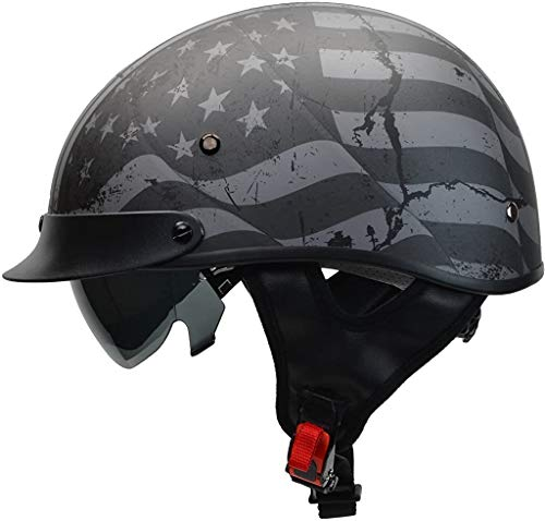 Vega Helmets Unisex-Adult 7817-054 Warrior Motorcycle Helmet w/Sunshield for Men & Women, Adjustable Size Dial DOT Half Face Skull Cap for Bike Cruiser Chopper Moped (Patriotic Flag Graphic, Large)