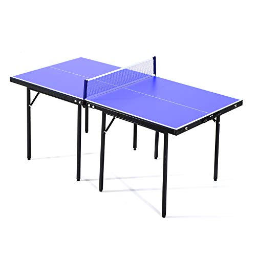 HOMCOM Folding Mini Compact Table Tennis Top Ping Pong Table Set Professional Net Games Sports Training Play Blue
