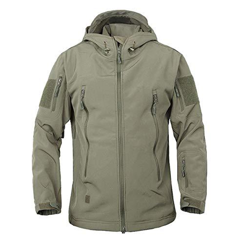 Qianduoduo888 Herren Outdoor Sports Taktische Jacke, Kapuzenjacke, Militärische Softshell-Jacke Mantel, Atmungsaktive wasserdichte Hai-Haut, Camping Bergsteigen(Size:XL,Color:Messing)