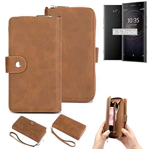 K-S-Trade 2in1 Handyhülle Kompatibel Mit Sony Xperia XA2 Ultra Dual-SIM Schutzhülle und Portemonnee Schutzhülle Tasche Handytasche Hülle Etui Geldbörse Wallet Bookstyle Hülle Braun (1x)