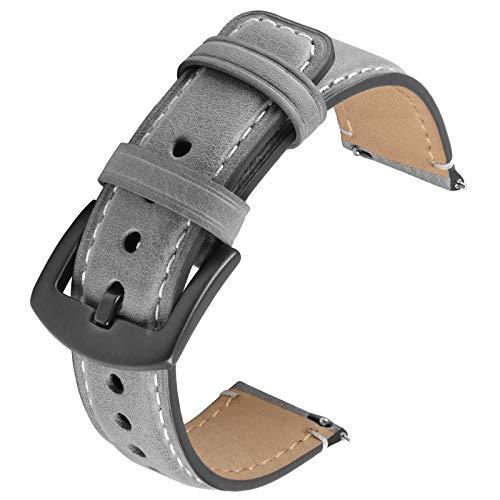 GerbGorb Correas de reloj de piel compatible con el reloj inteligente Huawei Samsung, correa de reloj de 22 mm, correa de reloj de para hombres y mujeres (hebilla gris / gris humo)