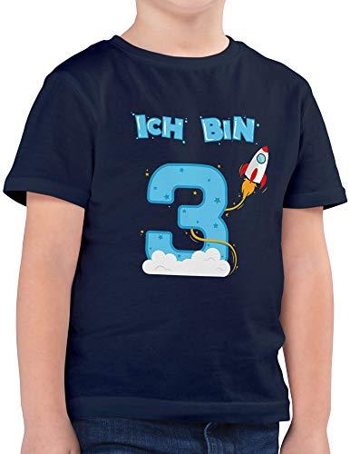 Shirtracer Ich bin Schon 3 Geburtstag Rakete Jungen T-Shirt (Navy, 3-4 Jahre 98-104 cm)