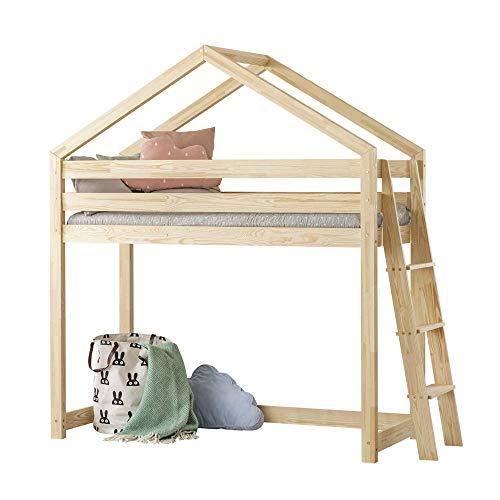 Selsey DALIDA - Lit Mezzanine/Lit cabane (90x190 cm, échelle de côté du Meuble)