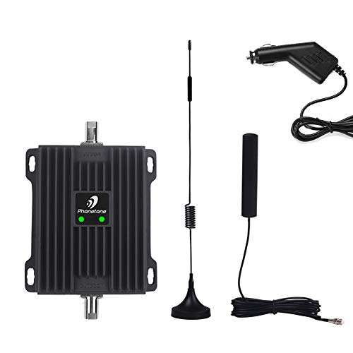 Cell Phone Signal Booster for Car, RV and Truck - Enhance 4G Data and Volte for Verizon, AT&T and T-Mobile - Dual 700MHz Band 12/13/17 Cellular Repeater Antenna Kit for Vehicle
