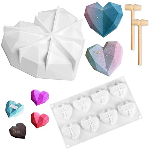 Diamond Heart Shape Silicone Cake Mold and 8 Cup Love Silicone Dessert Molds,Romantic DIY Multi-Function 3D Mold for Jelly Pudding Fondant Chocolate Ice Cream Mousse Dessert Baking