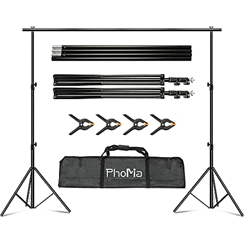 PhoMia Backdrop Stand 10Ftx8.2Ft Background Stand Adjustable Background Support Equipment System with 4 Background Clamps and Carry Bag
