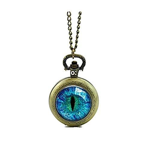 Reloj de bolsillo con ojo de gato Collar estilo retro vintage de bolsillo